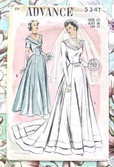 Advance 5341  Vintage 1950s Womens Wedding Gown by Fragolina, $25.00