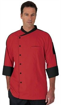 Chef Uniforms - Raglan Sleeve Chef Coat Poly/cotton Apple Green / Black - S Restaurant Uniforms, Chef Shirts, Staff Uniforms, Men In Uniform, Uniform Ideas, Pant Shirt, Contrast Collar, Chambray Dress, Just In Case