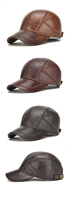 US 19.58 (48% OFF) New Mens Winter Genuine Leather Baseball Caps With Ear 12853aaee338