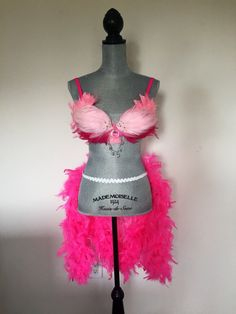 Women's pink flamingo showgirl feather costume set  Made