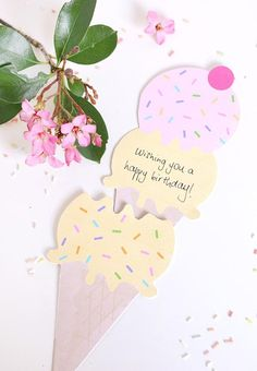 Slide out ice cream greeting card (DIY + printable)