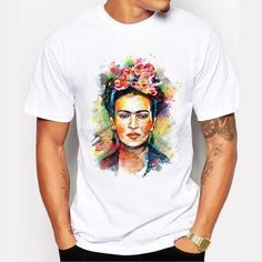 Men's Floral Frida Kahlo Design Customized T shirt Short Sleeve Fashion