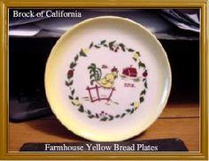 Brock California Farmhouse Bread Plates Lot of 4 at AtomicMall.com $39.95  Vintage dinnerware. California Pottery.