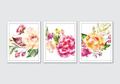 Watercolor Warm Venice Floral Prints, Floral Nursery Print, Roses Art Print, Hydrangea, Roses, Poppy, Floral Room Decor, Flower Art Print by MintArtStudio on Etsy