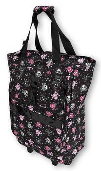 Black Hot Pink Skull and Crossbones Soft Sided Rolling Carry-On Bag Skull  Purse 648e93d30baf2
