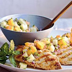 Grilled Chicken with Cucumber-Melon Salsa Recipe | MyRecipes.com