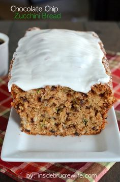 Chocolate Chip Zucchini Bread - the crusty edges and frosting make this zucchini bread really hard to resist
