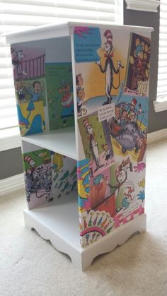 Modge podge,  a few used Dr. Suess books, and an old thrift store end table = custom Dr. Suess furniture for the nursery :)