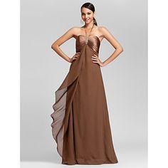 Sheath/Column Halter Floor-length Chiffon And Stretch Satin Bridesmaid Dress – USD $ 97.99