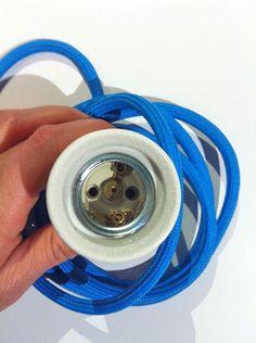 'Textil-Kabel' 2m + Porzellanfassung - div. Farben