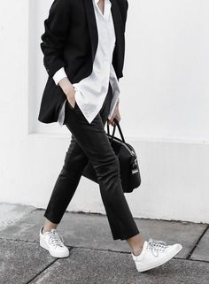 black and white. Minimalist business casual style outfit