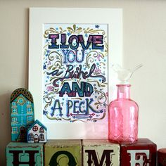 A4 I love you a bushel & a peck Print by MusingsPrints on Etsy, £12.00