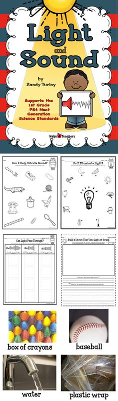 $ TERRIFIC!! 50 pages. This packet supports the 1st Grade New Generation Science Standard ESS4 and includes the following things needed to teach this standard: -Can I Help Vibrate Sound? Activity sheet - Do I Illuminate Light? Activity sheet-Can Light Pass Through? Activity Sheet- Build/Design a Device That Uses Light or Sound Activity sheet. Also included are large and small full color photographs to help teach the lesson concept of this standard.