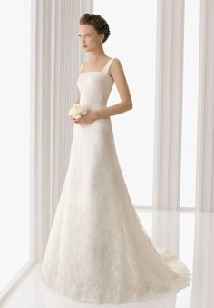 Lace Square A-line Elegant Wedding Dress with Bow Back