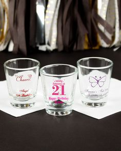 Get the birthday party started with personalized shot glasses!