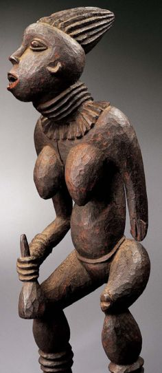 "A Cameroon sculpture known as the ""Bangwa Queen"" sold for $3.4 million, a (1990) record for African art - Bangwa is a kingdom located within the Cameroon Grassfields. During the 19th century, Bangwa fon (chiefs) commissioned lefem statues to be carved as manifestation of themselves. One of these statues has the prestigious title njuindem (""woman of god"") a priestess of the earth, or now known as the ""Bangwa Queen."""