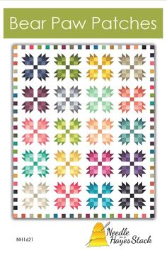 """This beautiful Bear Paw Patches quilt is made using 2 1/2"""" strips. An ombre Jelly Roll will give the quilt that wonderful illuminating effect. Suggested fabrics: Ombre by V and Co or Gelato Ombre by Maywood Studio This is a paper pattern that will be mailed to you All patterns are packaged in a sturdy mailer to ensure they are protected during shipping. Shipping is automatically calculated by Etsy. Any significant shipping overages will be refunded at time of shipping"""