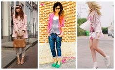 Pink blazer, glasses, striped shirt....it all works! The green shoes....ehhh