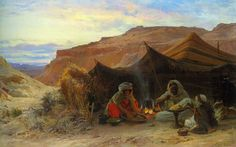 بدو في الصحراء - الرسام الفرنسي يوجين اليكسيس جيرارديت