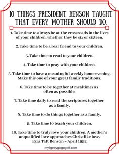 10 Things President Benson Taught That Every Mother Should Do.