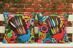 Multi Colored Jalapa Hand Embroidered Shams by CasaOtomi on Etsy