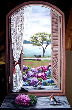 Birds on the windowsill Pictures To Paint, Art Pictures, Graffiti Kunst, Beautiful Places, Beautiful Pictures, Wall Murals, Wall Art, Cottage Art, Window View