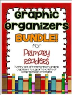 This pack contains 21 of the graphic organizers I use most in my primary classroom! It includes organizers for the following reading comprehension goals:  Predicting Main ideas and details Sequencing Story elements Summarizing (Five Finger Retell and SWBST) Determining Importance Inferencing/text evidence Cause/effect Character comparison Nonfiction research Fiction and Nonfiction Reader Response