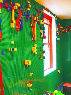 Are your kids fans of Lego? Well, i think not only your kids who love to play Lego but you and other adults may also love to play with it. However, do ever think to use Lego in your home interior d… Lego Room, Legos, Sweet Home, House Design, Wall Design, Design Room, Shelf Design, Design Bathroom, Modern Bathroom