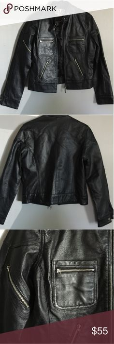 "Leather Moto Jacket Beautiful genuine leather moto jacket in black. Hardware/zippers are silvertone. Great quality leather and fully lined. Bust 36"" Sleeve 23"" Length 21.5"" Shoulder to shoulder 15""  Jacket is in pristine condition since I only wore it twice! CLIO from Wilson's Leather Jackets & Coats"