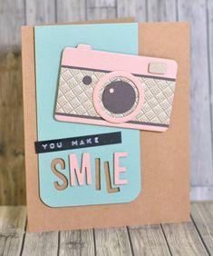Cute camera card using Echo Park dies.