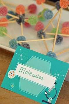 Treat ideas for a fun and wacky science party. A cute craft activity - molecules using toothpicks and jelly tots.