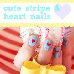 Cute Striped Heart Nails