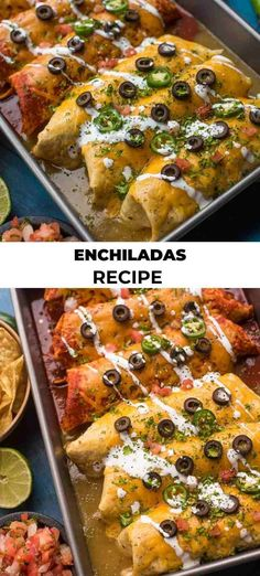 This Enchiladas Recipe is made of the best parts of Mexican food. All rolled up into one delicious cheese covered masterpiece. I love Mexican food so much, it seems that I always have an appetite for the stuff. Rice and Beans are like my ultimate comfort food but I can never decide which enchilada is my favorite, chicken or beef. So why not just make them both! You can't go wrong with that kind of attitude, LOL!