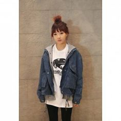 $14.46 Relaxed Long Sleeve Hooded Denim Jacket Twinset For Women