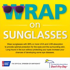 Slip. Slop. Slap. Wrap.  Wear sunglasses that block at least 99% of UV light.