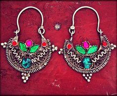 Tribal Afghan Hoop Earrings by COSMIC NORBU