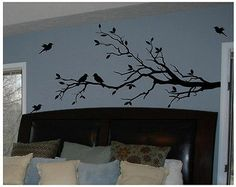 Tree Branch with 10 Birds in Black Wall Decal Deco Art Sticker Mural | eBay