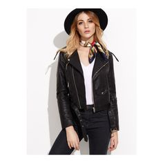 SheIn(sheinside) BLack Faux Leather Belted Moto Jacket With Zipper (1 140 UAH) ❤ liked on Polyvore featuring outerwear, jackets, black, faux leather moto jacket, belted jacket, collar jacket, vegan leather jacket and biker jacket