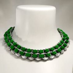 Upcycled Soda Pop Tab and Emerald Green Tee-Shirt Necklace