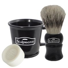 SG-SC-SHAVESET SCALPMASTER BARBER SHAVE SET  Great set to prepare the perfect shave. Rubberized professional shaving mug with raised inner rings hold soap firmly in place. The ergonomic handle provides a better grip and the durable material is easy to clean.