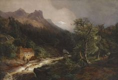 Andreas Achenbach - Gebirgslandschaft mit Mühle