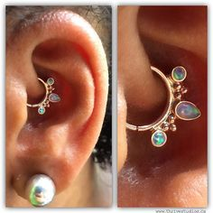 Absolutely stunning daith jewelry by BVLA- the Eden Pear ring with opal in gold