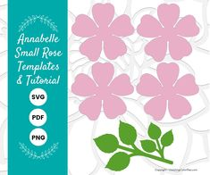 DIY Small Paper Rose Template Pattern, SVG cut files and PDF printables, Paper Flowers for Weddings, Baby Showers and Bridal Showers Giant Paper Flowers, Paper Roses, Large Flowers, Felt Flowers, Flower Paper, Leaf Template, Flower Template, Paper Flower Tutorial, Christmas Templates