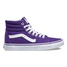 Vans The Canvas the legendary lace-up high top, features sturdy canvas uppers, re-enforced toecaps to withstand repeated wear, padded collars for support and flexibility, and signature rubber waffle outsoles. Vans Sneakers, Tenis Vans, Purple Sneakers, Best Sneakers, Vans Shoes, Top Shoes, Purple Trainers, Vans Footwear, Lacoste Sneakers
