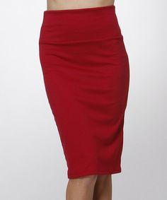 Another great find on #zulily! Burgundy Pencil Skirt #zulilyfinds