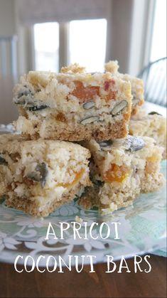 Recipe: Gluten Free Apricot Coconut Bars  http://wheatfreemom.com/blog/recipe-gluten-free-apricot-coconut-bars/