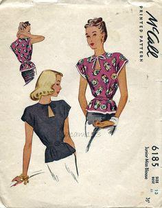 McCall 6185 Vintage 1940s Peplum Blouse Pattern Keyhole Neckline Cap Sleeves