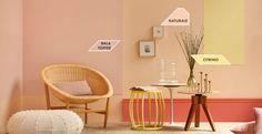 """Cantinho leve e """"fresquinho""""! Com a cor #Tendência2018 #Naturale, você transmite ao espaço mais luz e claridade. Escolha esse tom e deixe a paz entrar pela porta da frente Color Inspiration, Accent Chairs, Papel Contact, Furniture, Home Decor, Colors, Light Shades, Wall Colors, Paint Colours"""