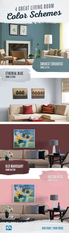 4 Great Living Room Color Schemes | If you're trying to figure out the best living room color schemes for your home, look for modern and comfortable tones. Here are four great living room colors to consider when painting or repainting your living room.