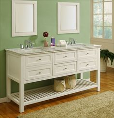 J & J International 70 inch Pearl White Antique Double Bathroom Vanity Set